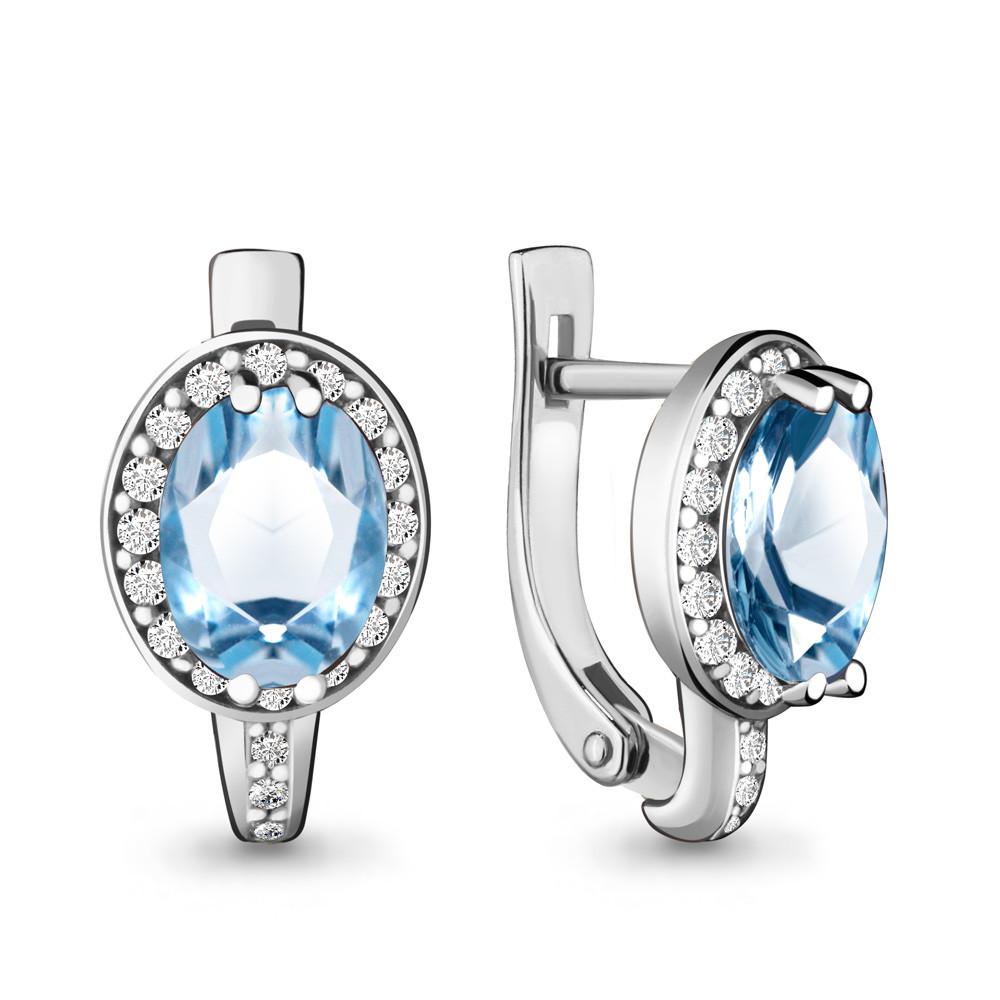Серебряные серьги-классические с топазом свисс и топазом AQUAMARINE (#632249)