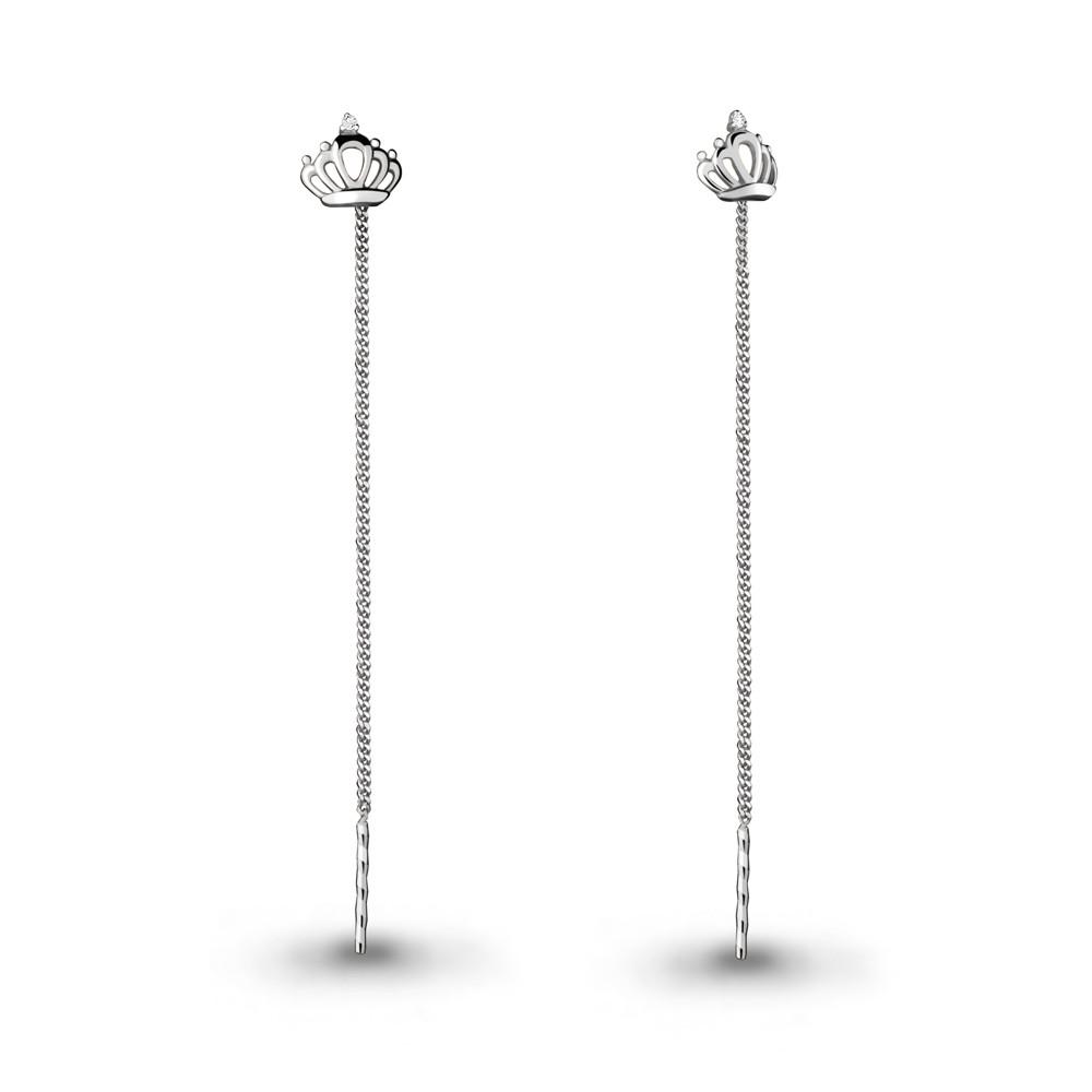 Серебряные серьги-протяжки с фианитом AQUAMARINE (#708700)