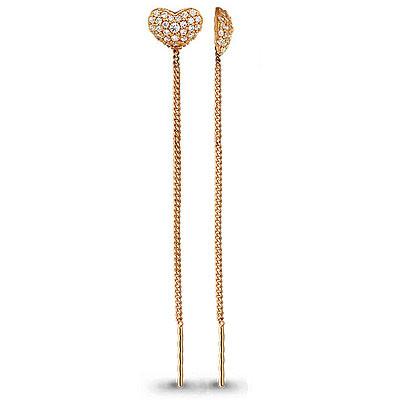 Серебряные серьги-протяжки с фианитом AQUAMARINE (#640543)