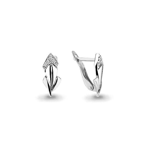 Серебряные Серьги-подвески с фианитом AQUAMARINE (#634922)