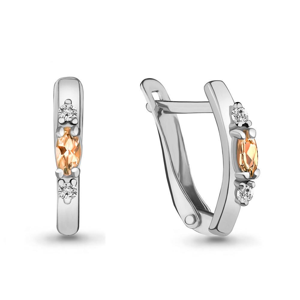 Серебряные серьги-классические с фианитом AQUAMARINE (#703804)
