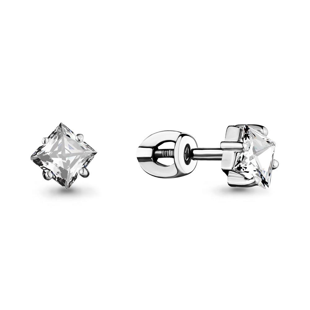 Серебряные серьги-пуссеты с фианитом AQUAMARINE (#708684)