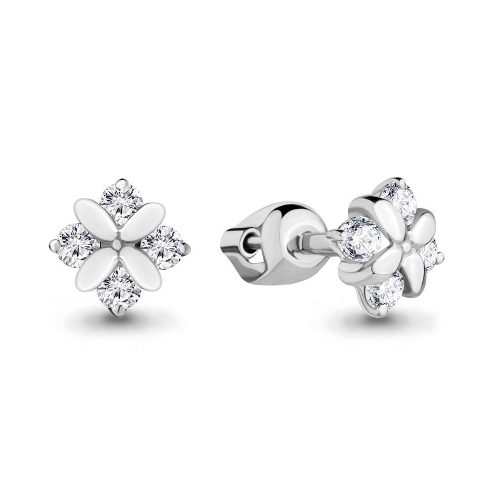 Серебряные серьги-пуссеты с фианитом AQUAMARINE (#683163)