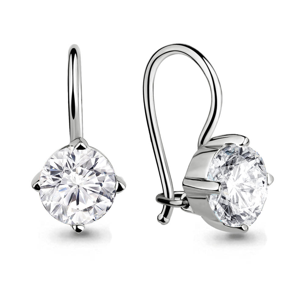 Серебряные Серьги-подвески с фианитом AQUAMARINE (#651609)