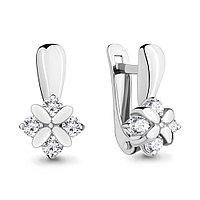 Серебряные серьги-классические с фианитом AQUAMARINE (#683164)