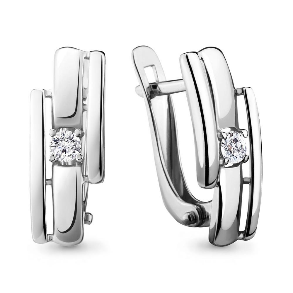 Серебряные серьги-классические с фианитом AQUAMARINE (#708721)