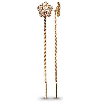 Серебряные серьги-протяжки с фианитом AQUAMARINE (#712297)