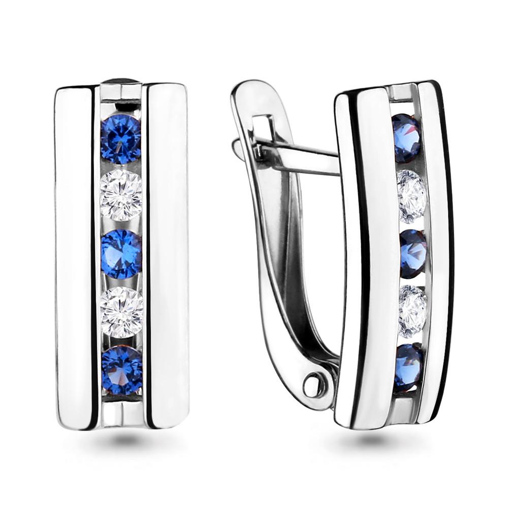 Серебряные серьги-классические с фианитом AQUAMARINE (#689112)