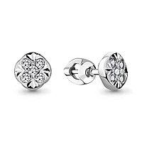 Серебряные серьги-пуссеты с фианитом AQUAMARINE (#711892)