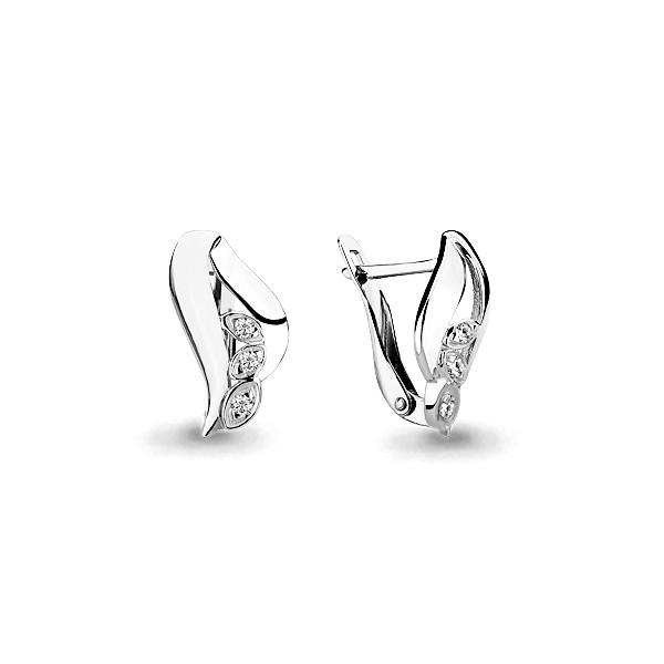 Серебряные серьги-классические с фианитом AQUAMARINE (#631753)