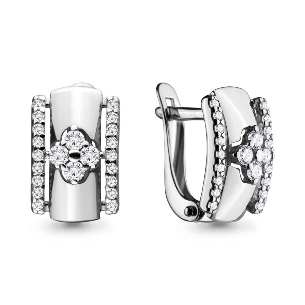 Серебряные серьги-классические с фианитом AQUAMARINE (#683165)