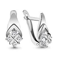 Серебряные серьги-классические с фианитом AQUAMARINE (#711545)
