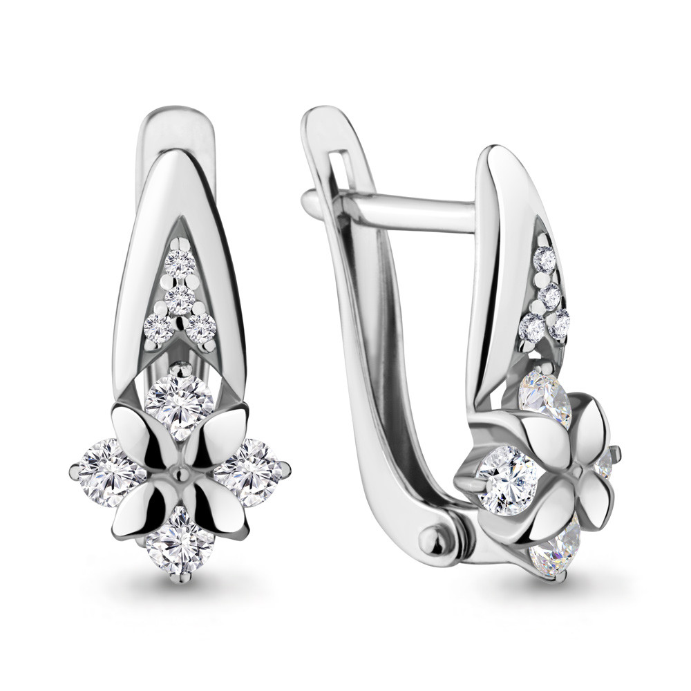 Серебряные серьги-классические с фианитом AQUAMARINE (#686419)