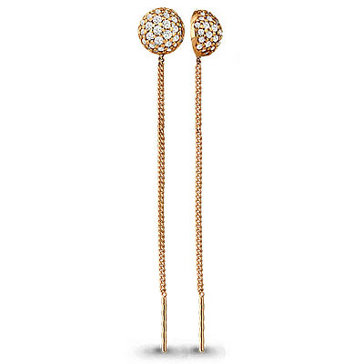 Серебряные серьги-протяжки с фианитом AQUAMARINE (#705829)