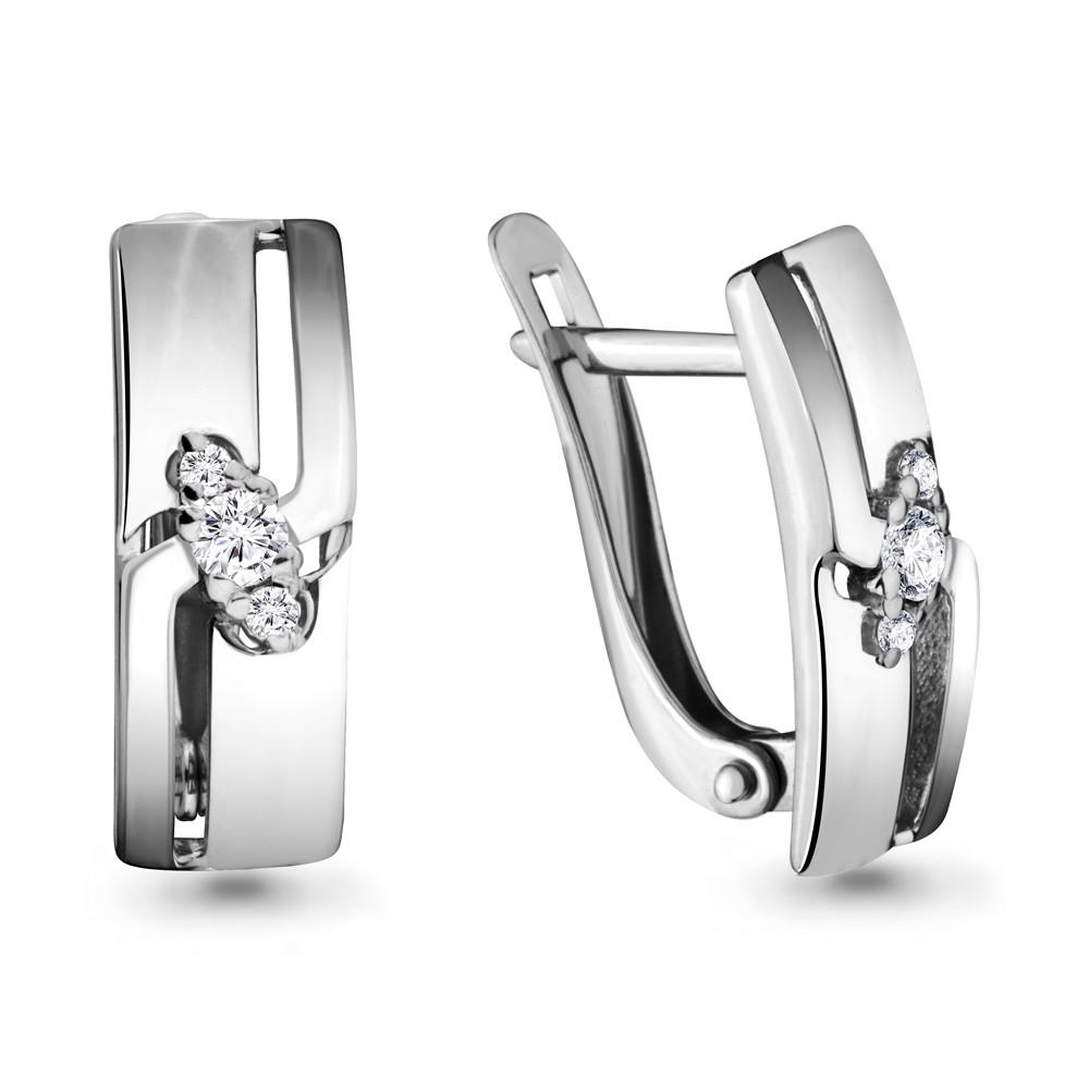 Серебряные серьги-классические с фианитом AQUAMARINE (#693427)