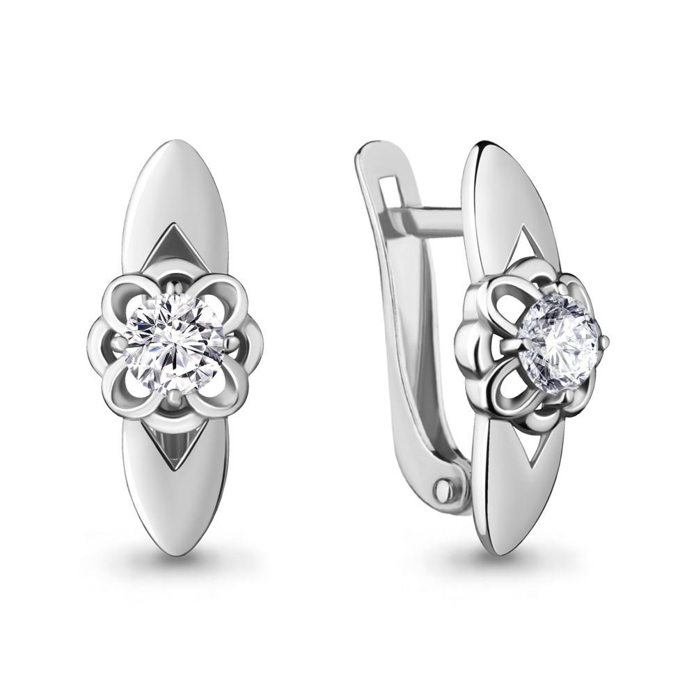 Серебряные серьги-классические с фианитом AQUAMARINE (#715428)