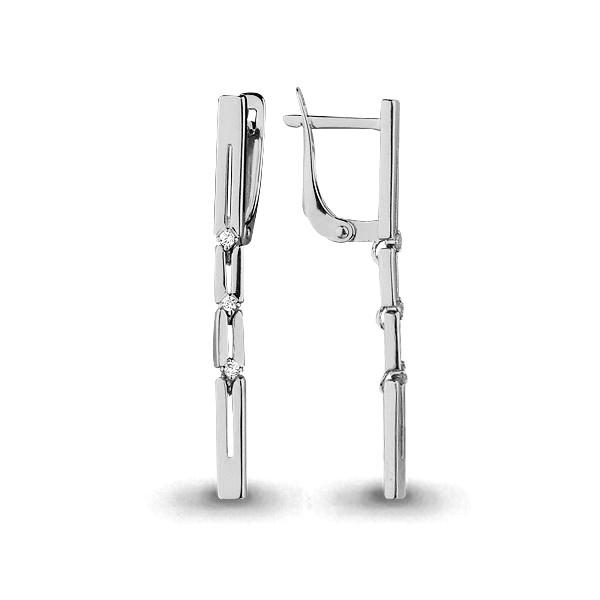 Серебряные Серьги-подвески с фианитом AQUAMARINE (#711540)