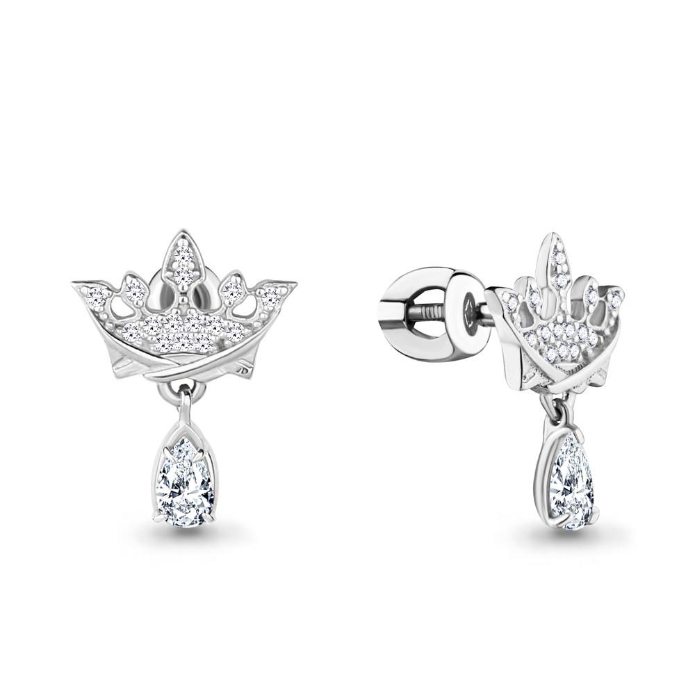 Серебряные серьги-протяжки с фианитом AQUAMARINE (#708713)