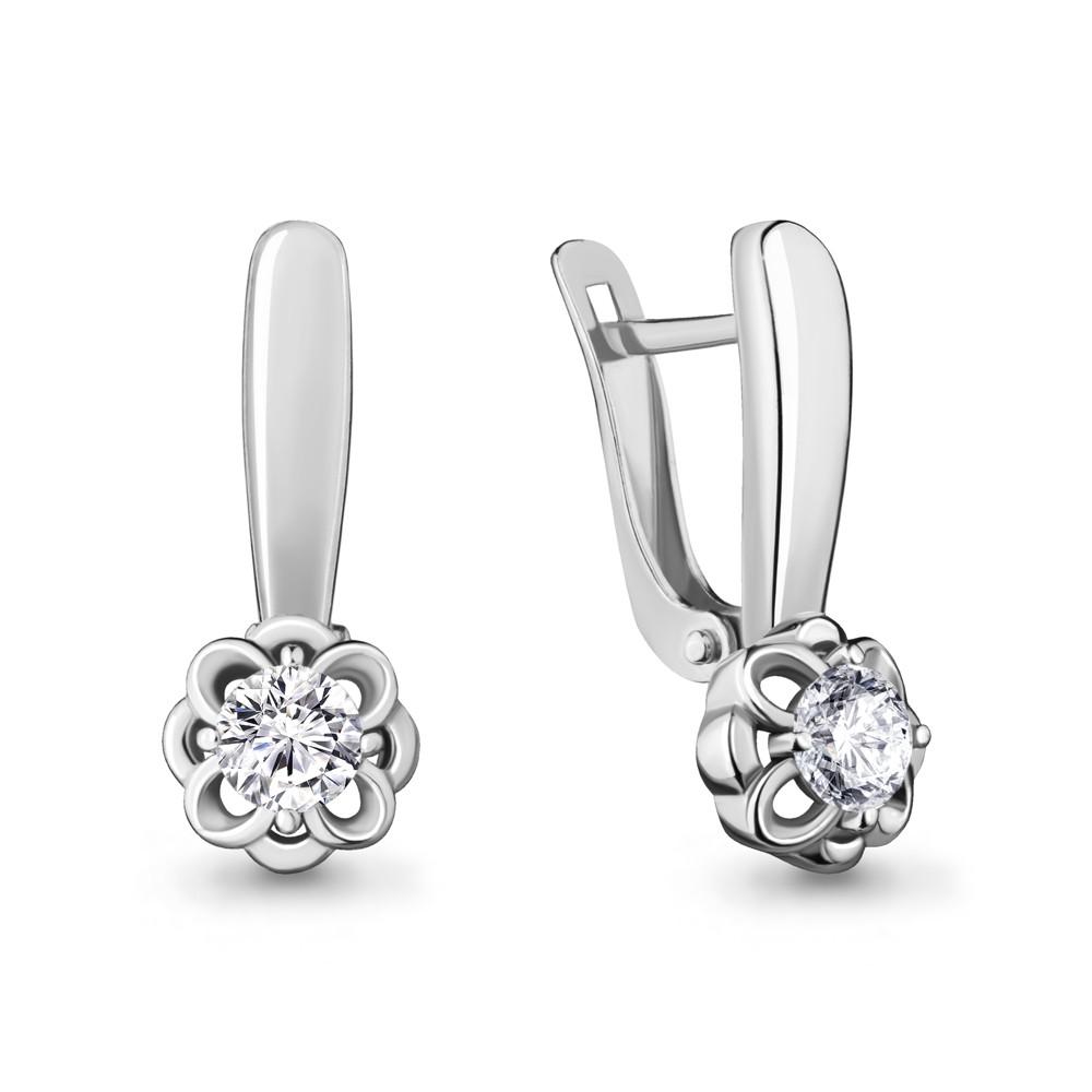 Серебряные серьги-классические с фианитом AQUAMARINE (#715427)