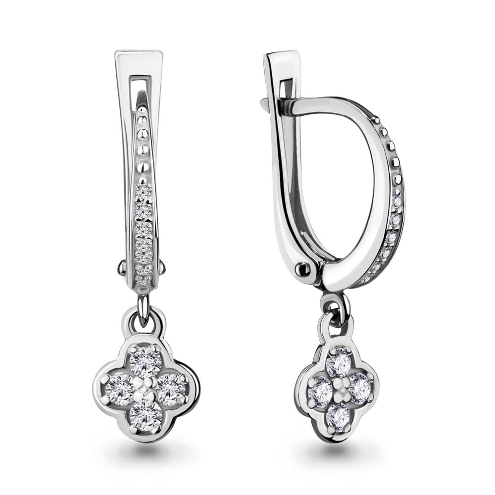 Серебряные Серьги-подвески с фианитом AQUAMARINE (#694607)