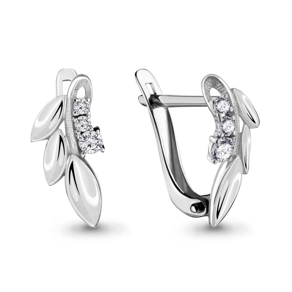 Серебряные серьги-классические с фианитом AQUAMARINE (#675971)