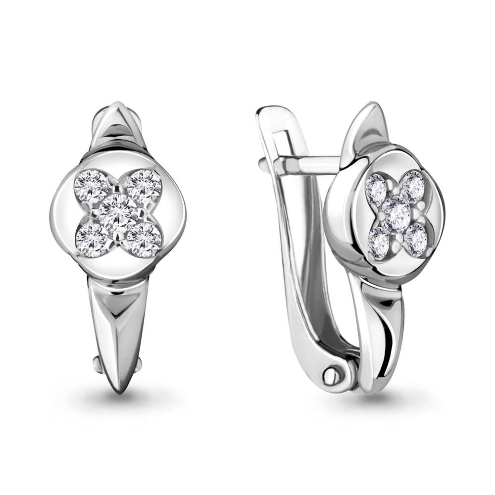 Серебряные серьги-классические с фианитом AQUAMARINE (#711885)