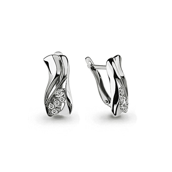 Серебряные серьги-классические с фианитом AQUAMARINE (#653143)