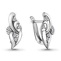 Серебряные серьги-классические с фианитом AQUAMARINE (#701318)