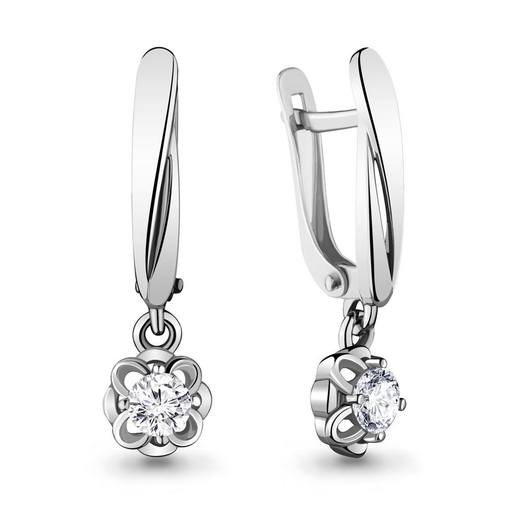 Серебряные Серьги-подвески с фианитом AQUAMARINE (#715430)
