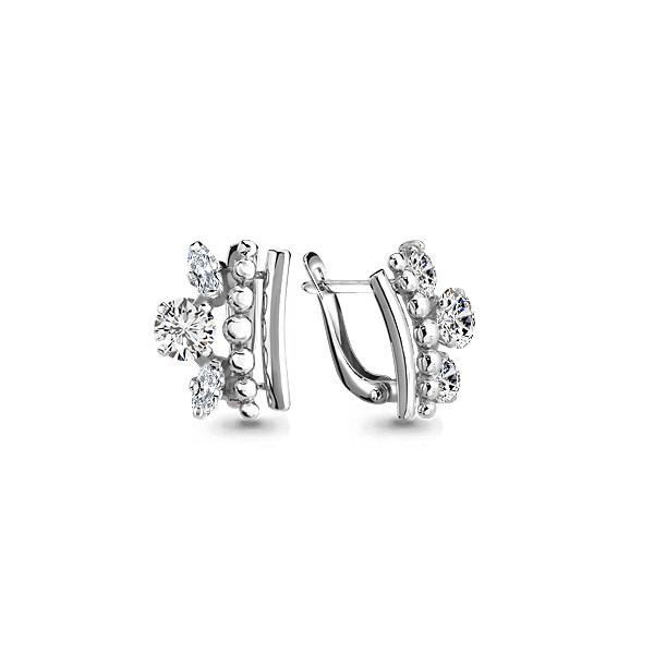 Серебряные серьги-классические с фианитом AQUAMARINE (#654677)
