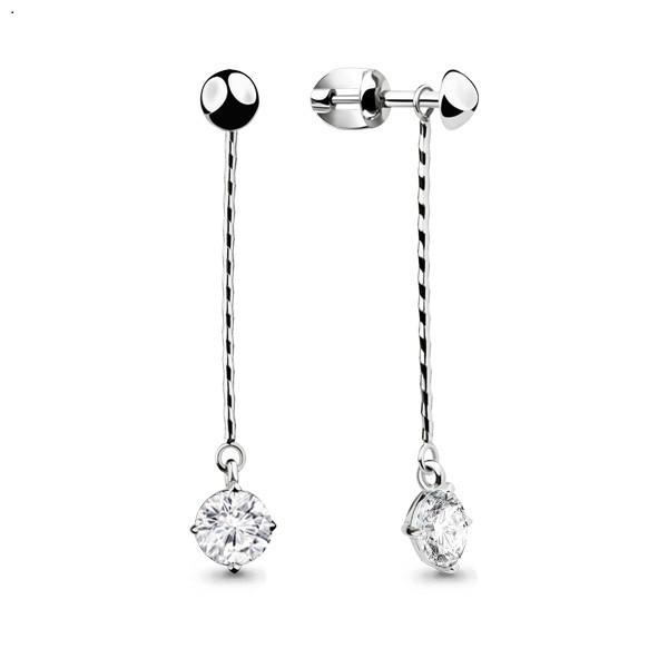 Серебряные Серьги-подвески с фианитом AQUAMARINE (#664410)