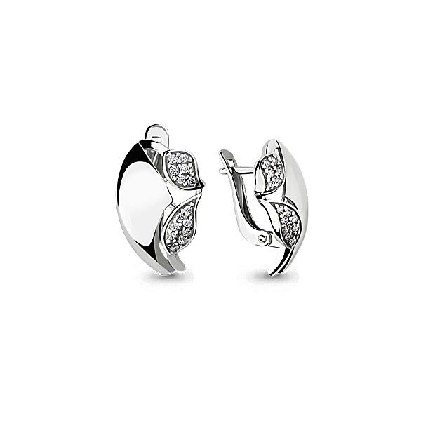 Серебряные серьги-классические с фианитом AQUAMARINE (#640722)