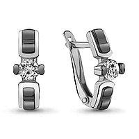 Серебряные серьги-классические с фианитом AQUAMARINE (#704784)