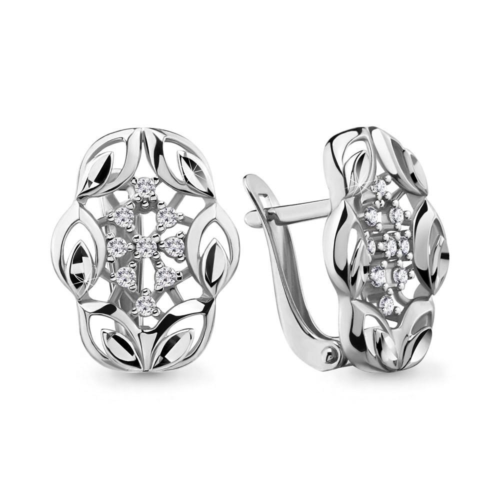 Серебряные серьги-классические с фианитом AQUAMARINE (#705731)