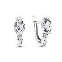 Серебряные серьги-классические с фианитом AQUAMARINE (#716945)