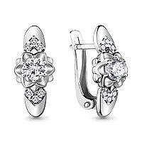 Серебряные серьги-классические с фианитом AQUAMARINE (#715434)
