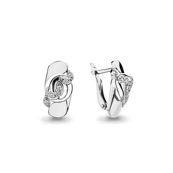 Серебряные серьги-классические с фианитом AQUAMARINE (#636608)