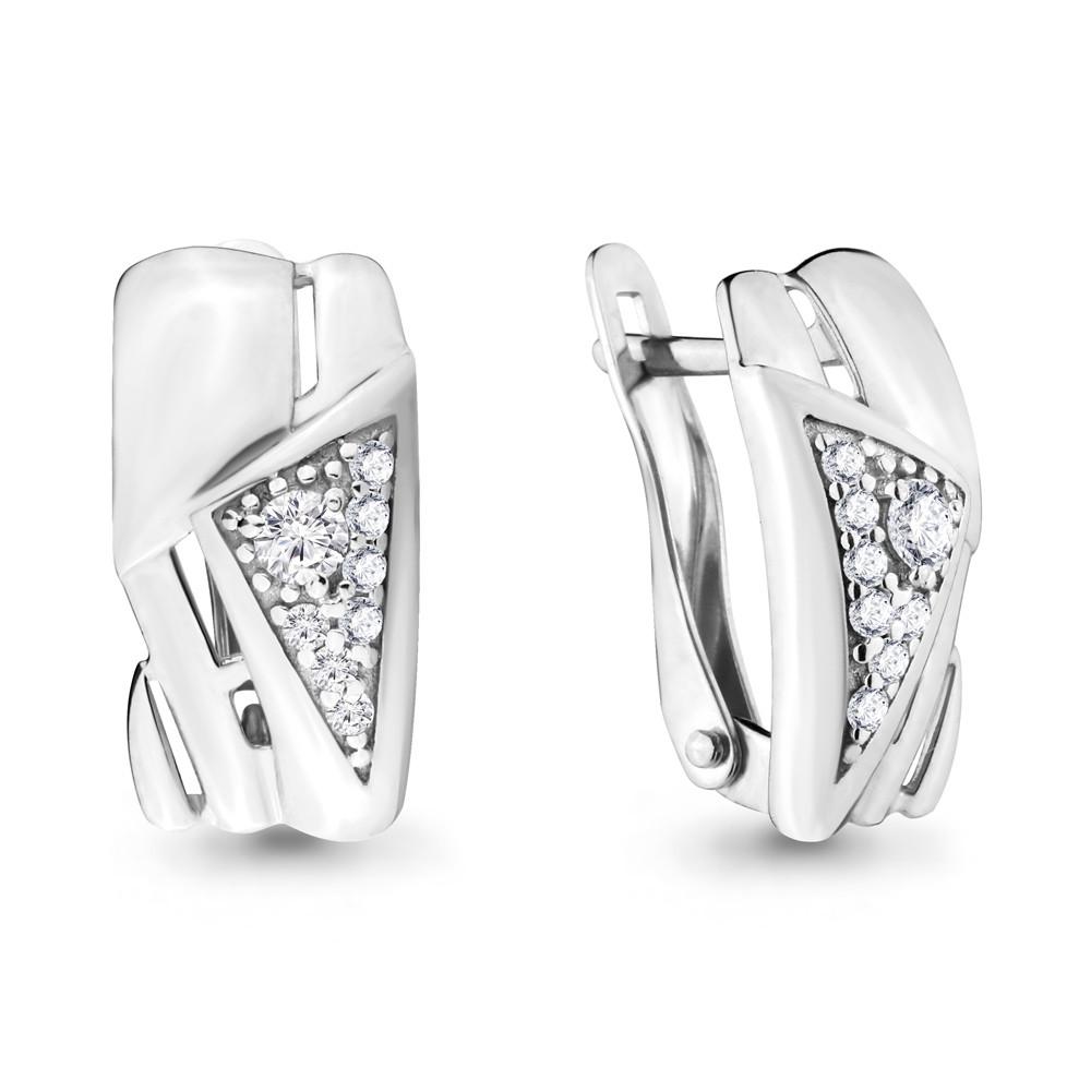 Серебряные серьги-классические с фианитом AQUAMARINE (#666389)