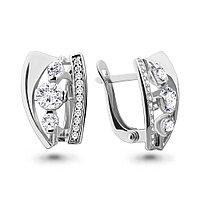 Серебряные серьги-классические с фианитом AQUAMARINE (#657315)