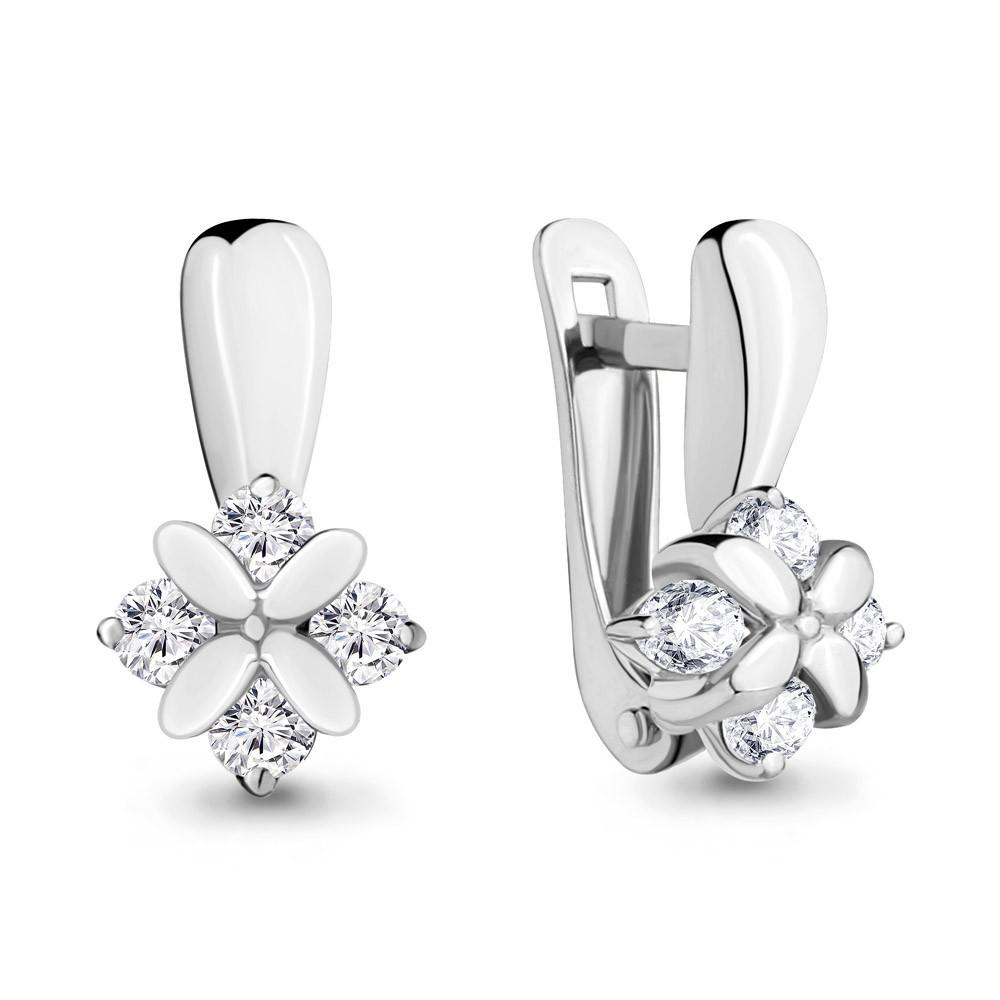 Серебряные серьги-классические с фианитом AQUAMARINE (#708715)