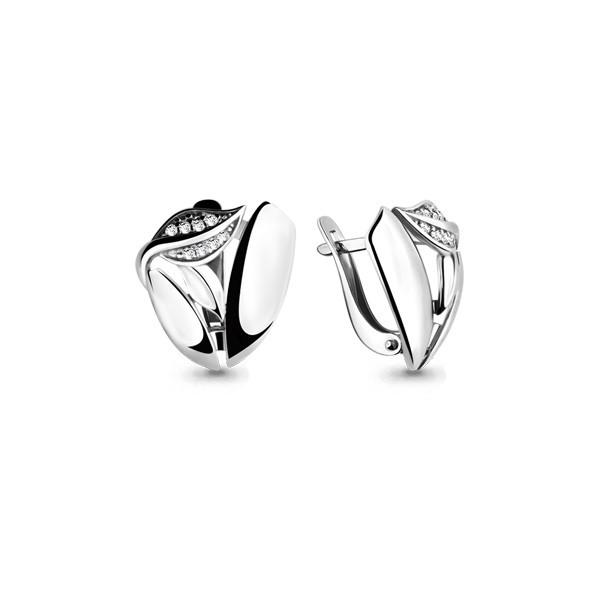 Серебряные серьги-классические с фианитом AQUAMARINE (#705712)