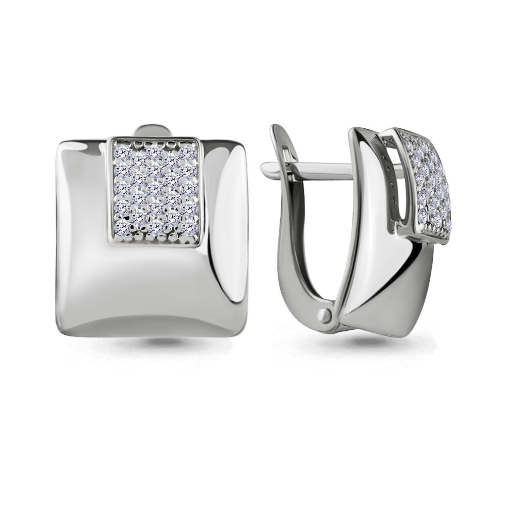 Серебряные серьги-классические с фианитом AQUAMARINE (#683162)