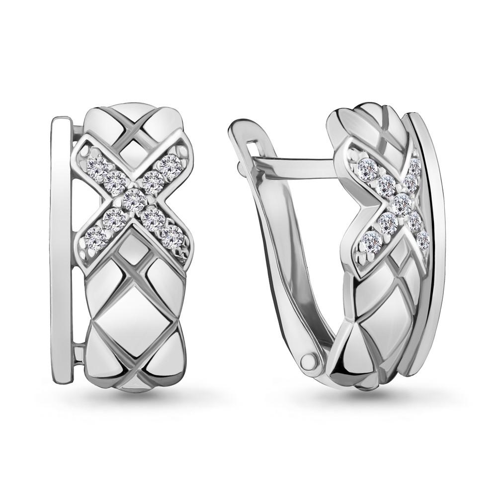 Серебряные серьги-классические с фианитом AQUAMARINE (#704768)