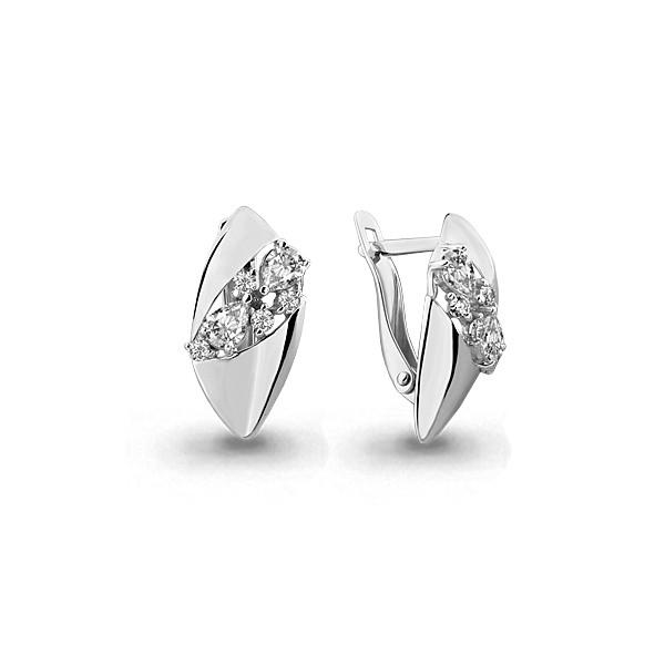 Серебряные серьги-классические с фианитом AQUAMARINE (#631745)