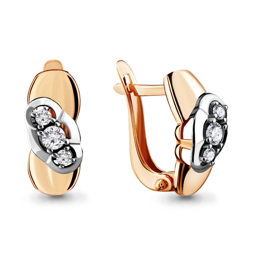 Серебряные серьги-классические с фианитом AQUAMARINE (#706518)