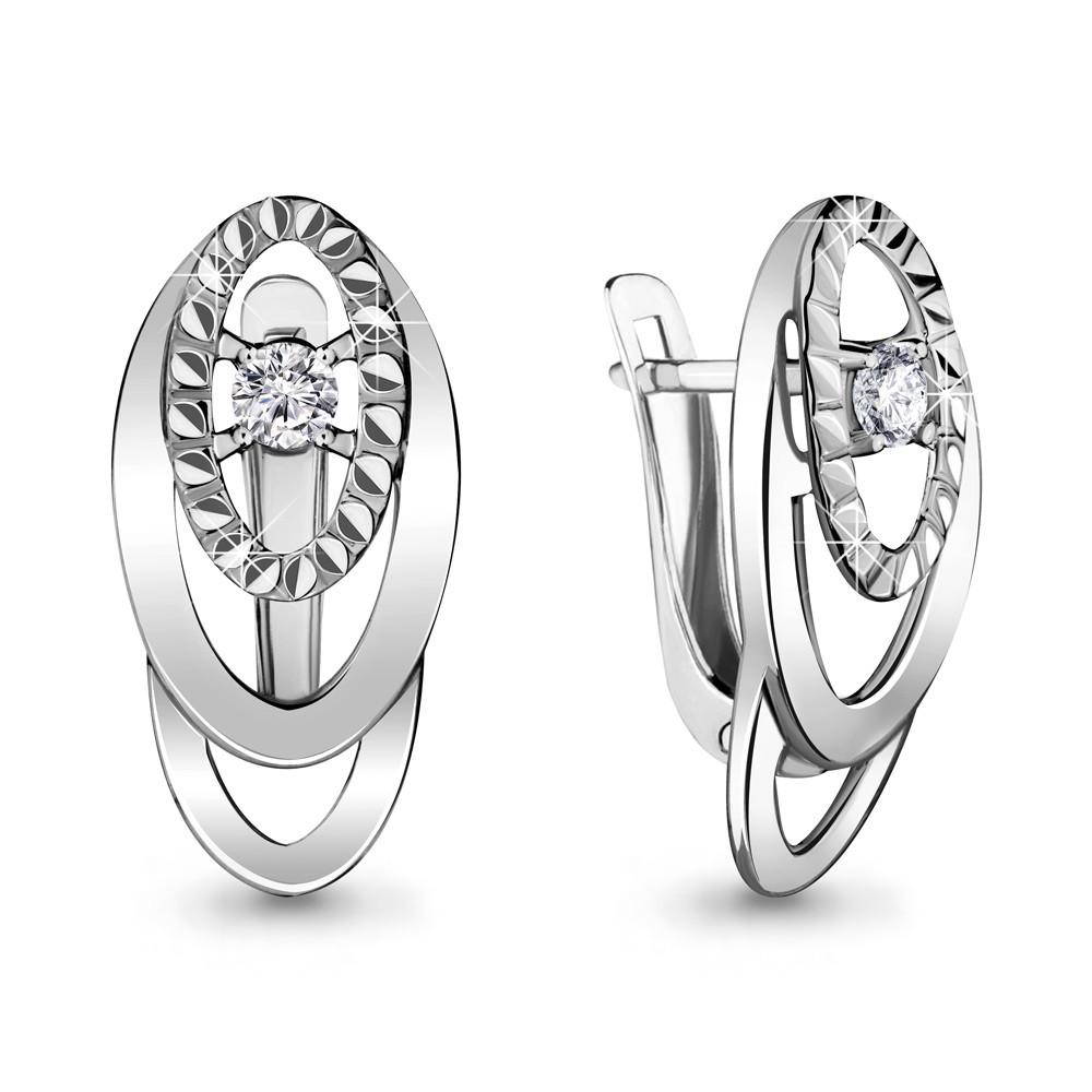 Серебряные серьги-классические с фианитом AQUAMARINE (#706478)