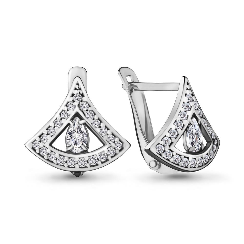 Серебряные серьги-классические с фианитом AQUAMARINE (#716899)