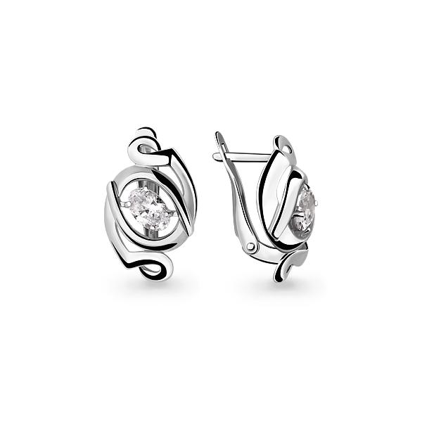 Серебряные серьги-классические с фианитом AQUAMARINE (#640717)