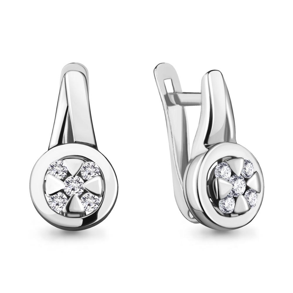 Серебряные серьги-классические с фианитом AQUAMARINE (#711893)