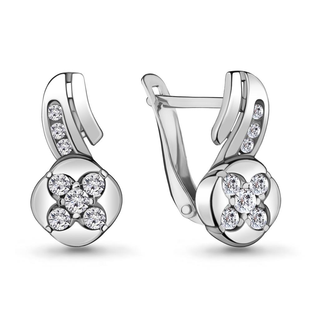 Серебряные серьги-классические с фианитом AQUAMARINE (#711886)